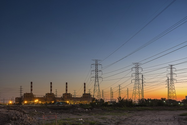 power plant with high voltage in sunset time, Thailand